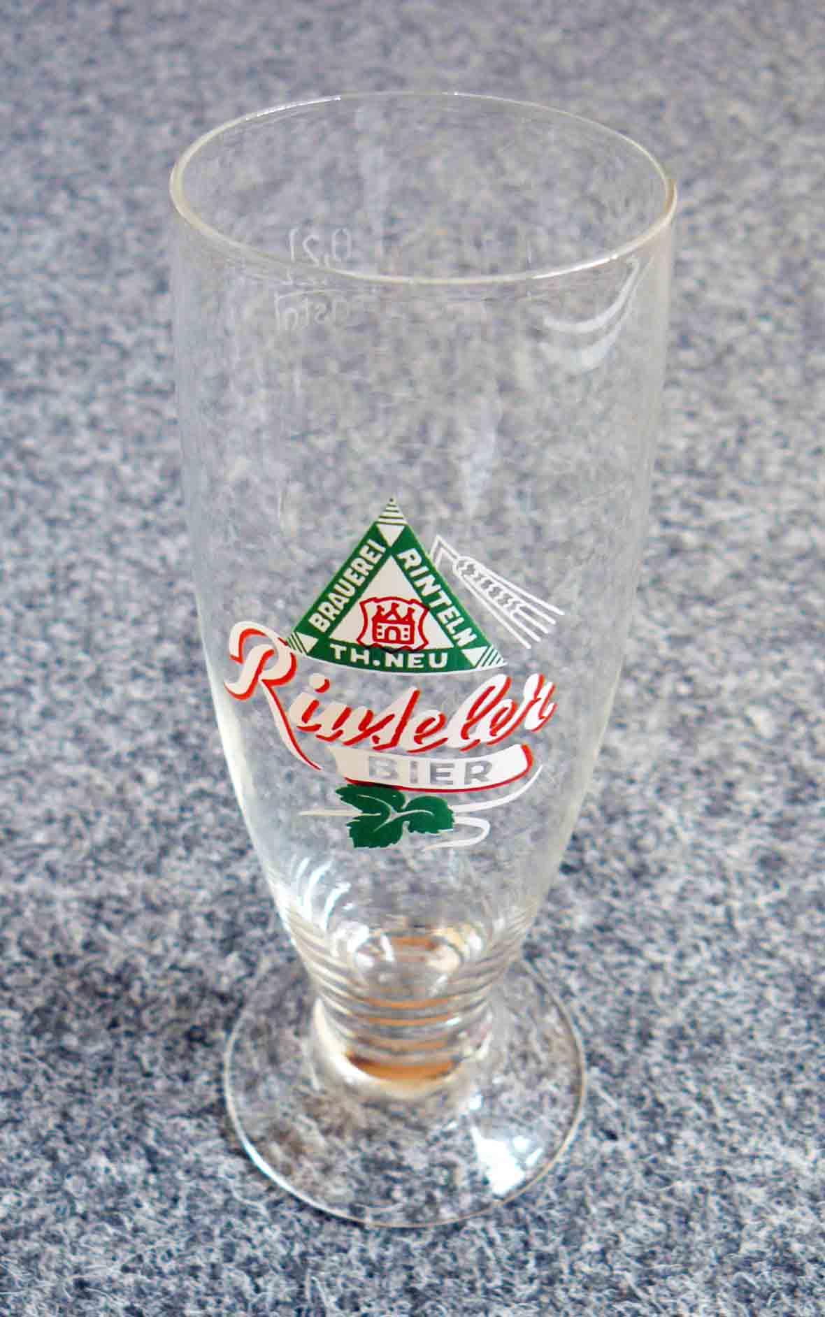 Glas der Brauerei Theodor Neu um 1959
